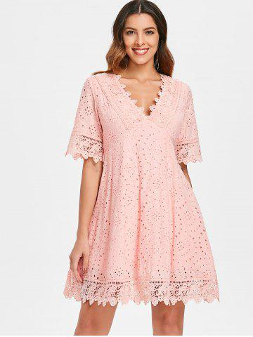 Eyelet Empire Waist Mini Dress