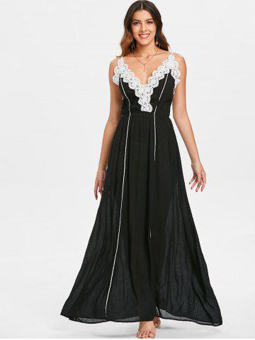 Low Cut Lace Applique Maxi Dress