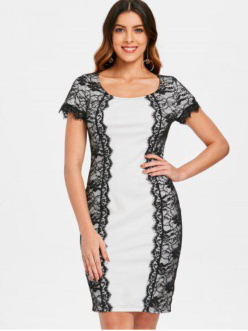 Lace Panel Bodycon Office Dress