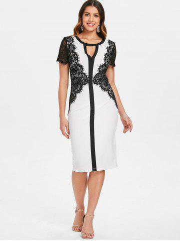 Lace Panel Contrasting Bodycon Dress