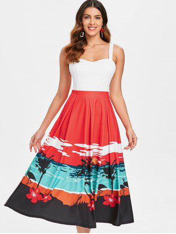 Sunset Beach Print Fit and Flare Dress