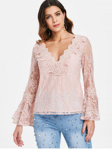 V Neck Flare Sleeve Lace Top