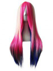 Long Side Bang Straight Colorful Anime Cosplay Synthetic Wig -
