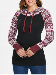 Chic Long Sleeve Geometrical Hooded Color Block Hoodie For Women -