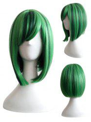 Short Inclined Bang Straight Bob Highlight Cosplay Synthetic Wig -