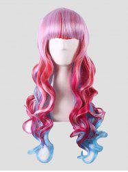Neat Bang Long Body Wave Colorful Synthetic Cosplay Wig -