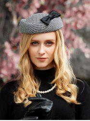 British Style Houndstooth Tea Party Cocktail Hat -