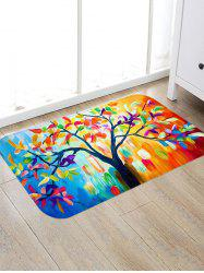 Oil Painting Tree Print Water Absorption Floor Mat -