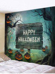 Halloween Moon Scary Forest Pumpkin Printed Wall Tapestry -