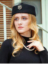 Элегантный Rhinestone Floral Mesh Pillbox Hat -