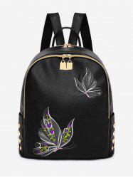 Studded Patchwork Embroidery Leisure Backpack -