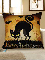 Happy Halloween Cat Print Decorative Sofa Linen Pillowcase -