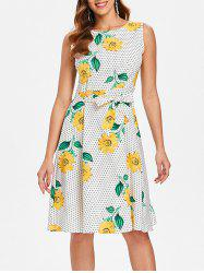 Sunflower Polka Dot Print Sleeveless Dress -