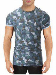 Camo Print Destroyed T-shirt -