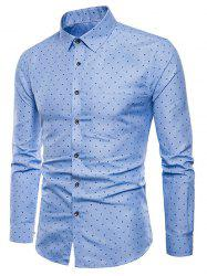 Allover Leaves Print Long Sleeve Shirt -