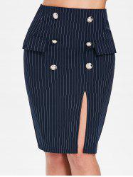 Button Embellished Striped Bodycon Skirt -