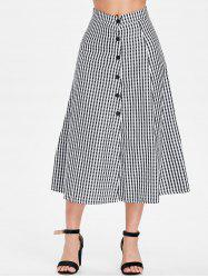Gingham Print Button Embellished Mid Calf Skirt -