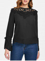Tie Sleeve Lace Panel Blouse -