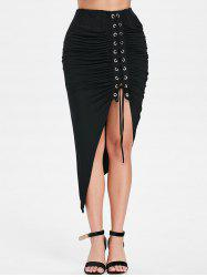 Asymmetrical Lace Up Ruched Midi Skirt -