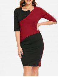 Half Sleeve Contrast Sheath Dress -