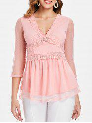 Sheer Mesh Lace Applique Empire Waist Top -