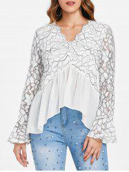 Flare Sleeve Lace Panel Top -