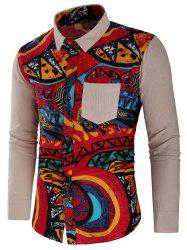 Abstract Print Panel Button Up Shirt -