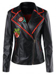 Faux Leather Motorcycle Jacket -