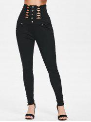 Stud Rivets Criss Cross Slim Fit Pants -