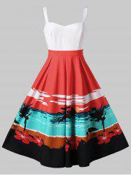 Sunset Beach Print Fit and Flare Dress -