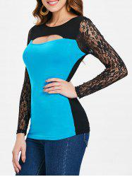 Color Block Long Lace Sleeve T-shirt -