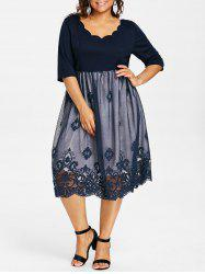 Plus Size Lace Panel Scalloped Vintage Dress -