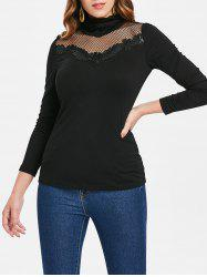 Lace Applique Turtleneck Long Sleeve T-shirt -