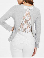 Bowknot Embellished Back Lace Panel Top -