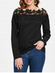 Lace Panel Boat Neck Top -