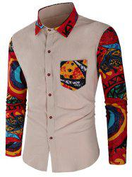 Abstract Print Patchwork Casual Shirt -