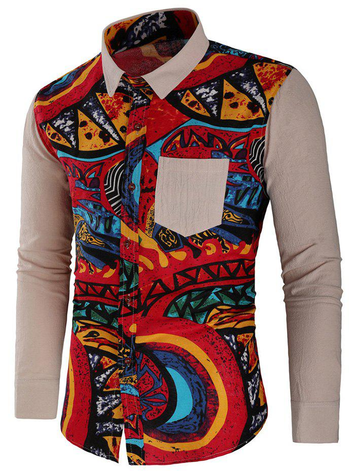 Hot Abstract Print Panel Button Up Shirt