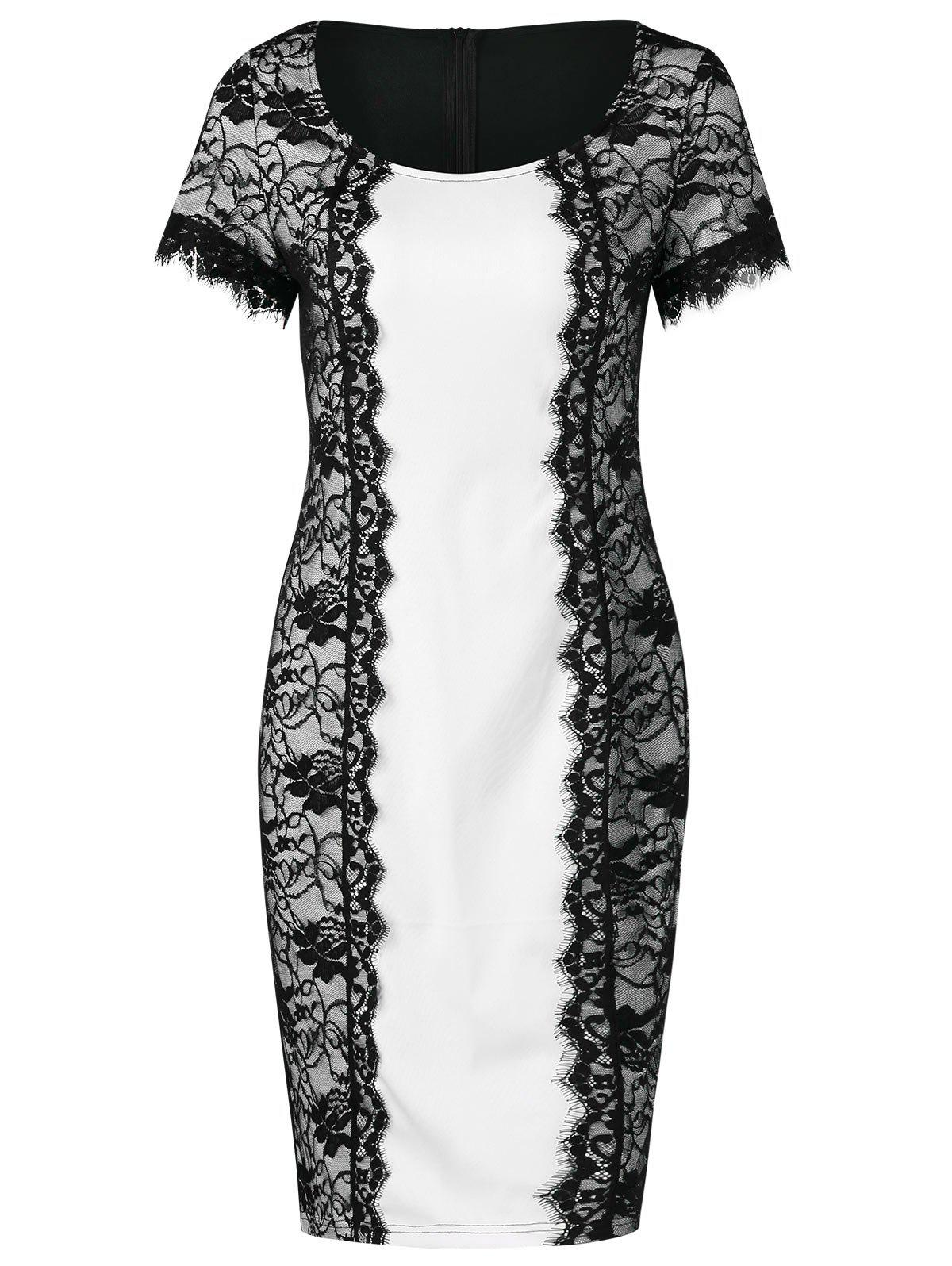 Affordable Lace Panel Bodycon Office Dress