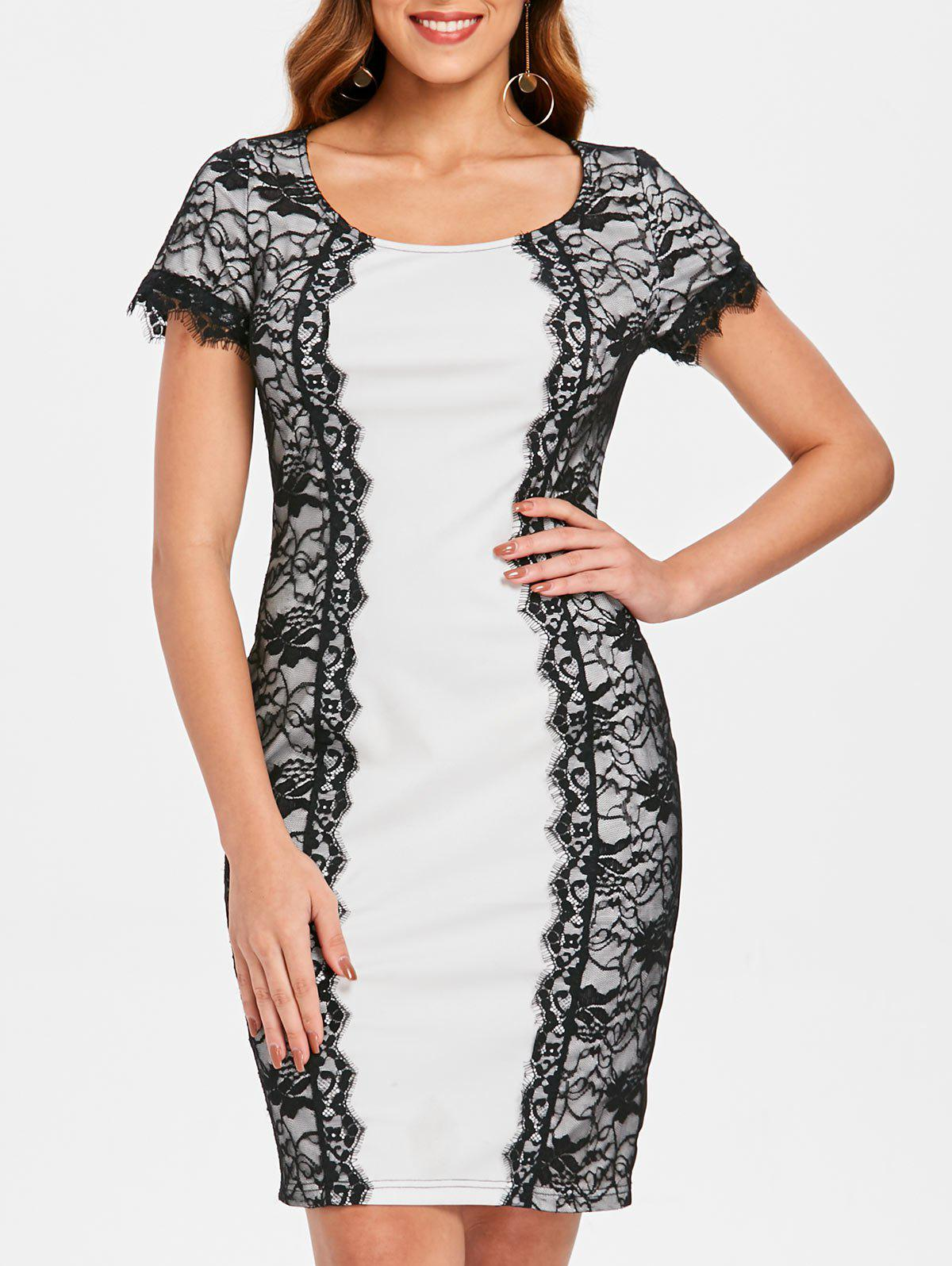Fashion Lace Panel Bodycon Office Dress