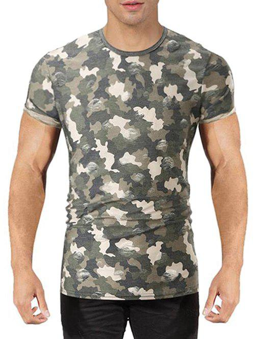 Sale Camo Print Destroyed T-shirt