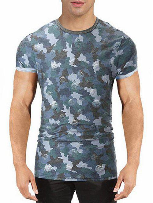 Unique Camo Print Destroyed T-shirt