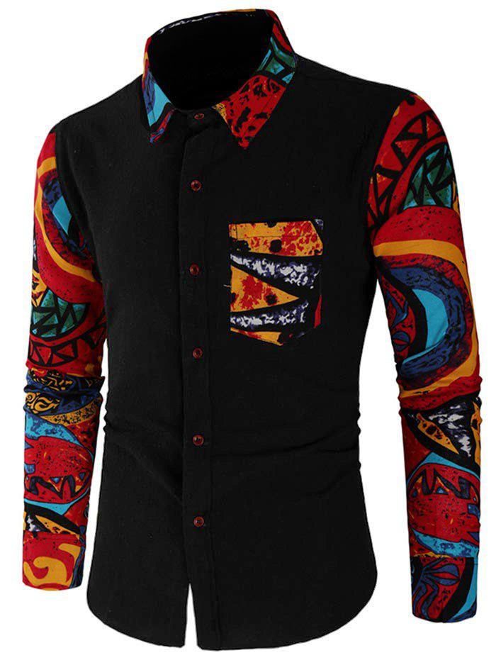 Sale Abstract Print Patchwork Casual Shirt