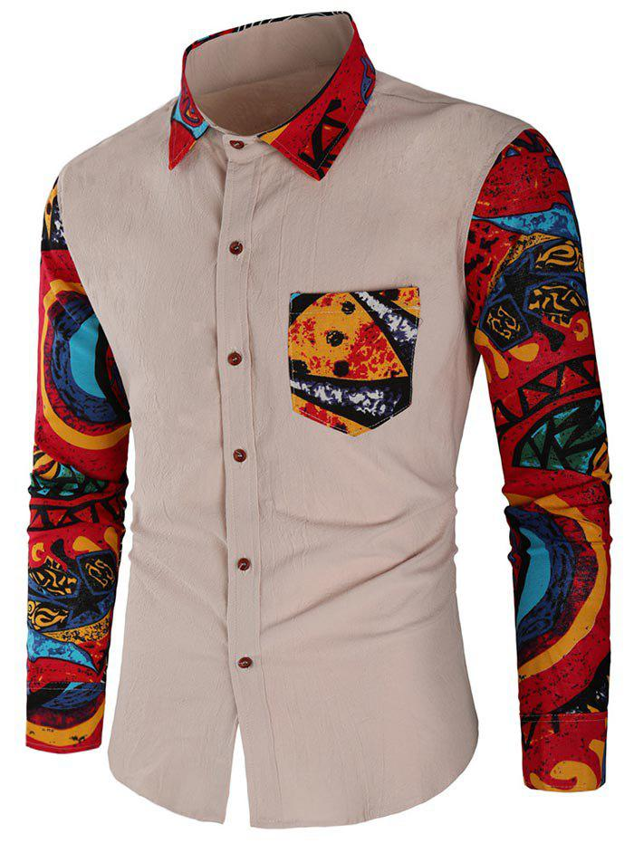 Unique Abstract Print Patchwork Casual Shirt