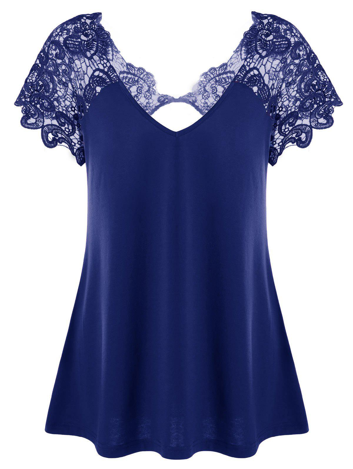 Hot V Neck Plus Size Lace Trim Cutwork T-Shirt