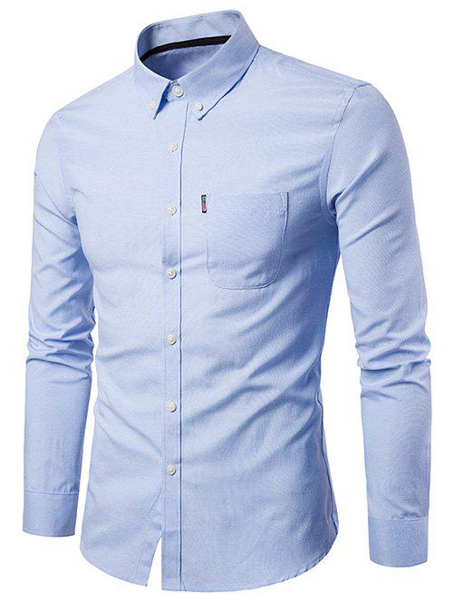 Cheap Slim Fit Solid Color Business Shirt