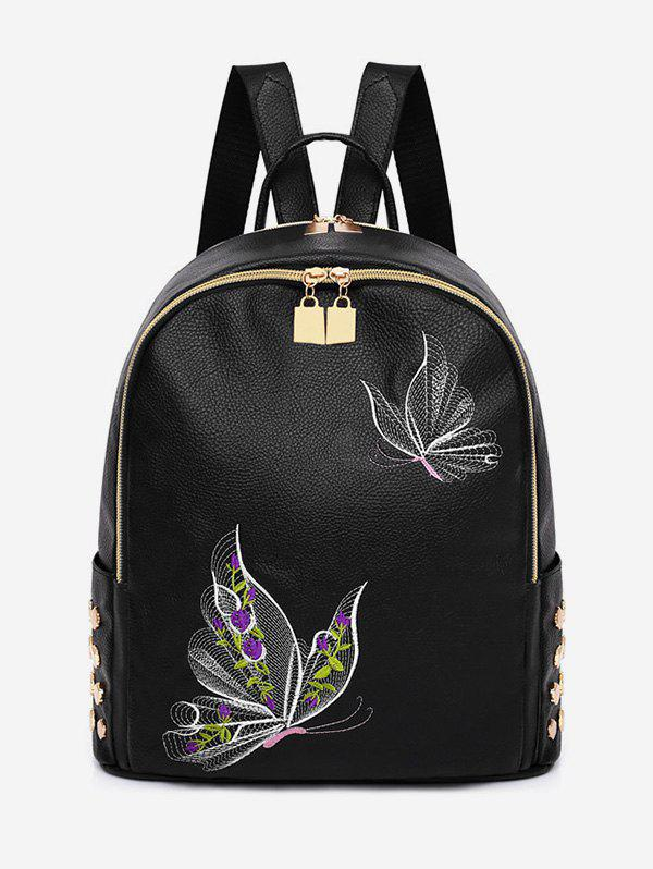 Fancy Studded Patchwork Embroidery Leisure Backpack
