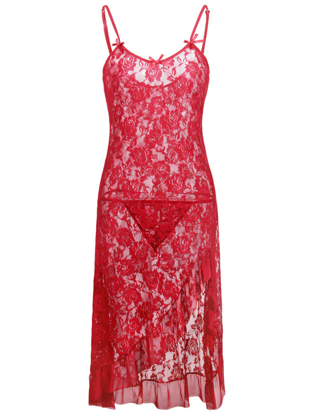 Chic Lace Plus Size Ruffle Hem Slip Dress