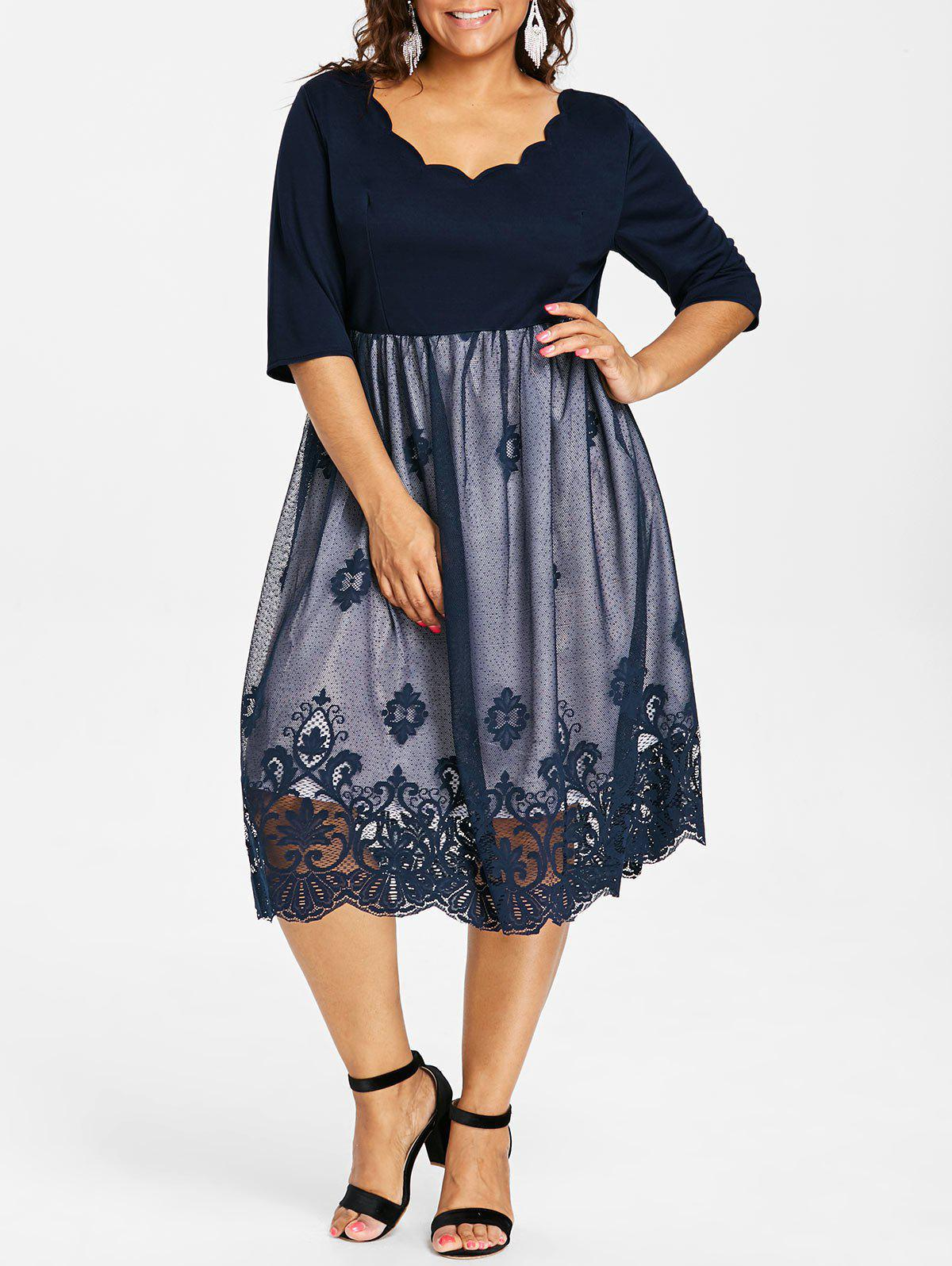Trendy Plus Size Lace Panel Scalloped Vintage Dress