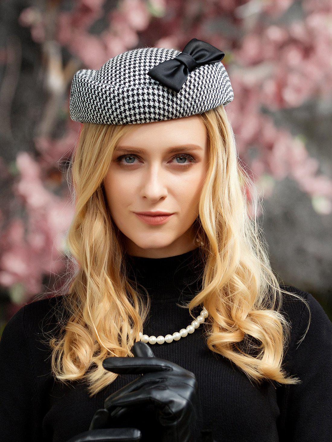 Trendy British Style Houndstooth Tea Party Cocktail Hat