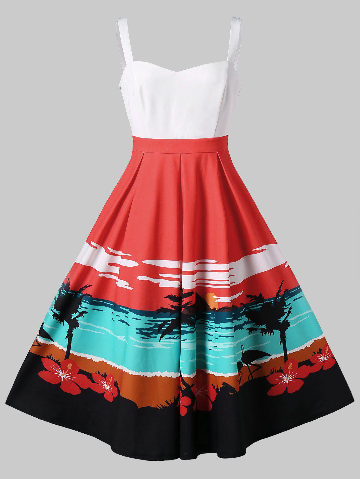 Best Sunset Beach Print Fit and Flare Dress